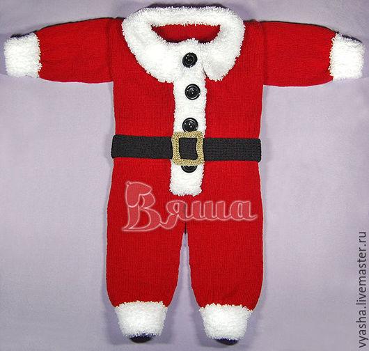 """Для новорожденных, ручной работы. Ярмарка Мастеров - ручная работа. Купить Комбинезон новогодний """"Санта Клаус"""" вязаный детский, для фотосессии. Handmade."""