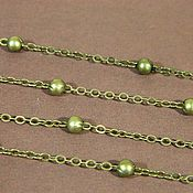 Chains handmade. Livemaster - original item Chain with beads, color bronze, South Korea. 3,5h2,5 mm. Handmade.