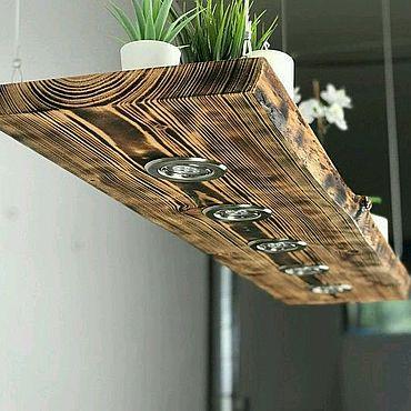Освещение ручной работы. Ярмарка Мастеров - ручная работа Люстра лофт потолочная со спотами из массива дерева. Handmade.