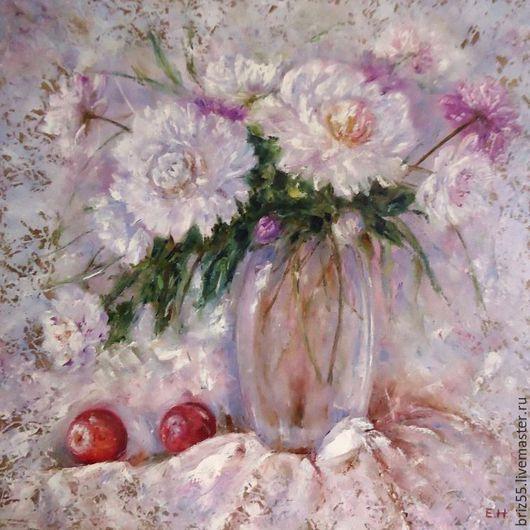 Картины цветов ручной работы. Ярмарка Мастеров - ручная работа. Купить Картина маслом Натюрморт с пионами и нектаринами. Handmade.