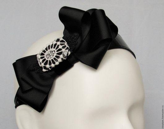 Диадемы, обручи ручной работы. Ярмарка Мастеров - ручная работа. Купить Ободок повязка для волос с бантом и кружевом.. Handmade. Черный