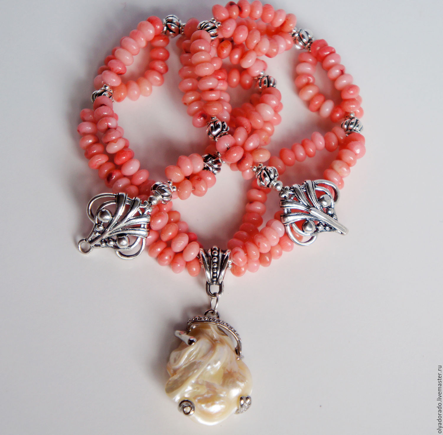 Necklace of coral in silver pendant Vintage, Necklace, Moscow,  Фото №1
