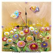 """Для дома и интерьера ручной работы. Ярмарка Мастеров - ручная работа Часы из стекла """" Летний Луг"""".. Handmade."""