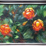 """Картины и панно ручной работы. Ярмарка Мастеров - ручная работа картина из шерсти """"Морошка"""". Handmade."""