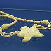 Винтаж ручной работы. Ярмарка Мастеров - ручная работа Ожерелье с магнолией. Слоновая кость.. Handmade.