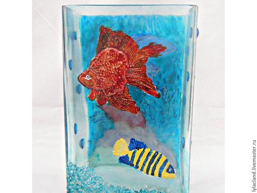 """Вазы ручной работы. Ярмарка Мастеров - ручная работа. Купить Ваза""""Морские рыбки"""". Handmade. Комбинированный, витражное стекло, подарок"""