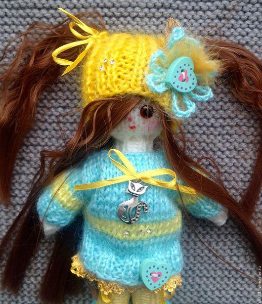 """Человечки ручной работы. Ярмарка Мастеров - ручная работа. Купить Куколка в сумочке """"Соня"""". Handmade. Голубой, игрушка для детей, человечек"""