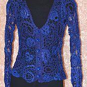 Одежда ручной работы. Ярмарка Мастеров - ручная работа Кофта женская вязаная  Синий электрик 2. Handmade.