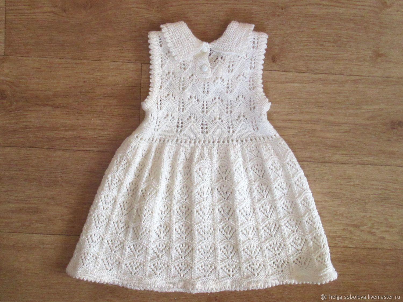 Платье вязанное для девочки 3 лет