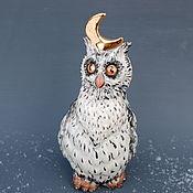 Для дома и интерьера handmade. Livemaster - original item The Owl and the Moon. Porcelain figurine.. Handmade.