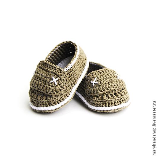 Для новорожденных, ручной работы. Ярмарка Мастеров - ручная работа. Купить Пинетки «Мокасины хаки». Handmade. Хаки, пинетки для новорожденных