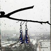 Украшения ручной работы. Ярмарка Мастеров - ручная работа серьги из стекла Капли. Handmade.