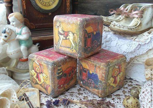 """Детская ручной работы. Ярмарка Мастеров - ручная работа. Купить """"Винтажные игрушки"""" Кубик. Handmade. Голубой, детки, девочки"""