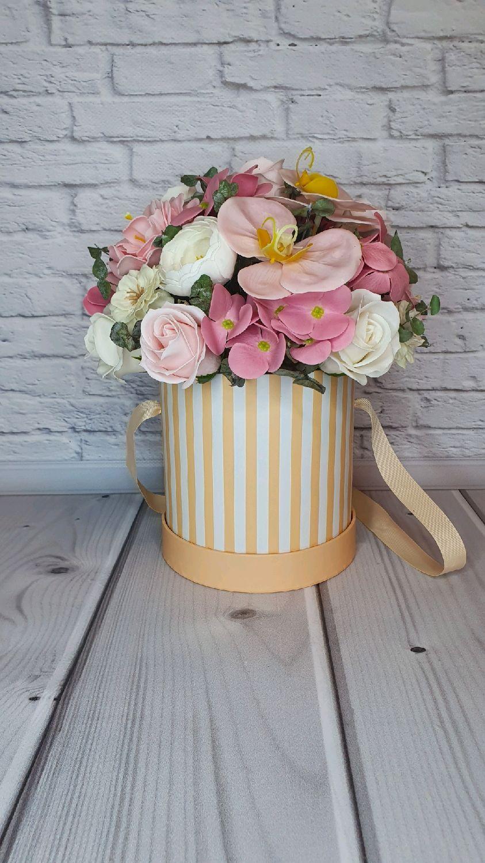 Авторский букет в шляпной коробке из вечных неувядающих цветов подарок, Букеты, Москва,  Фото №1