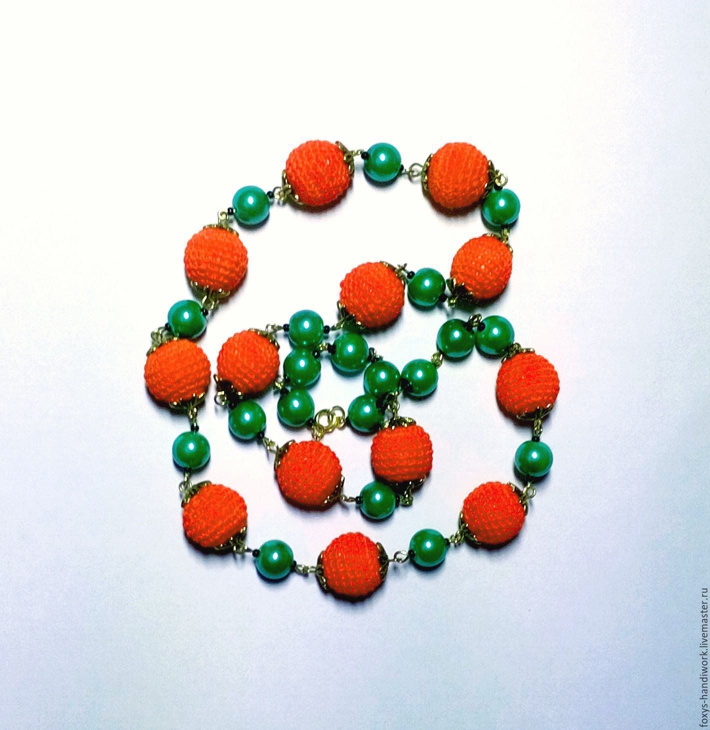 Beads 'Orange mood' with knit and glass beads, on, Necklace, Tula,  Фото №1
