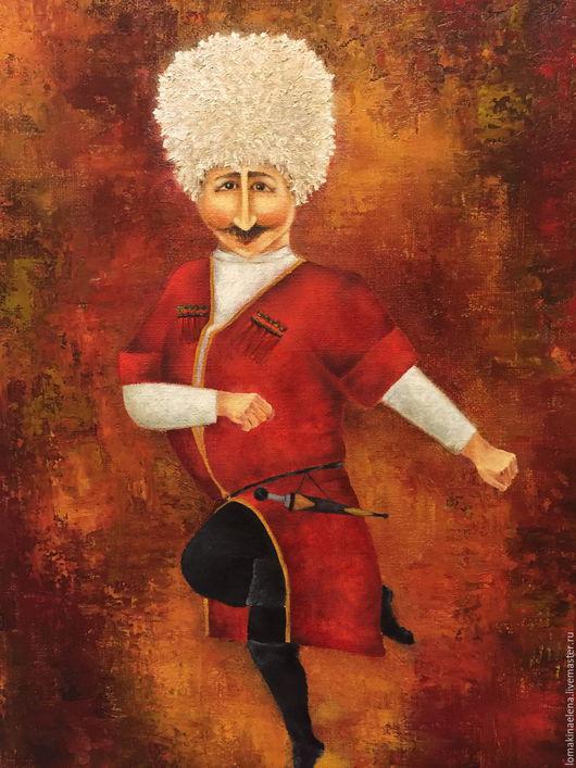 Люди, ручной работы. Ярмарка Мастеров - ручная работа. Купить Танец Грузии. Handmade. Разноцветный, картина для интерьера, красный