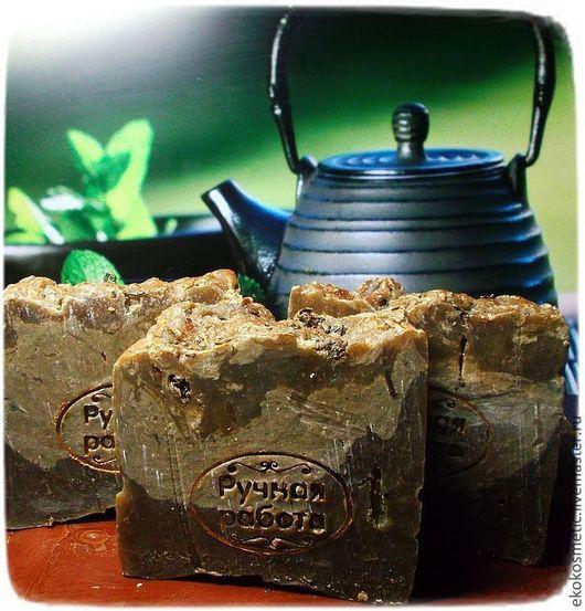 Мыло ручной работы. Ярмарка Мастеров - ручная работа. Купить Зелёный чай. Мыло с нуля антиоксидантное. Handmade. Коричневый