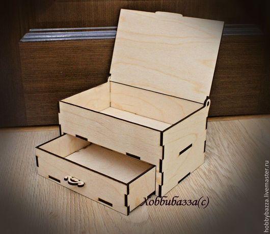 Декупаж и роспись ручной работы. Ярмарка Мастеров - ручная работа. Купить Шкатулка с ящиком и крышечкой (деревянная заготовка). Handmade.