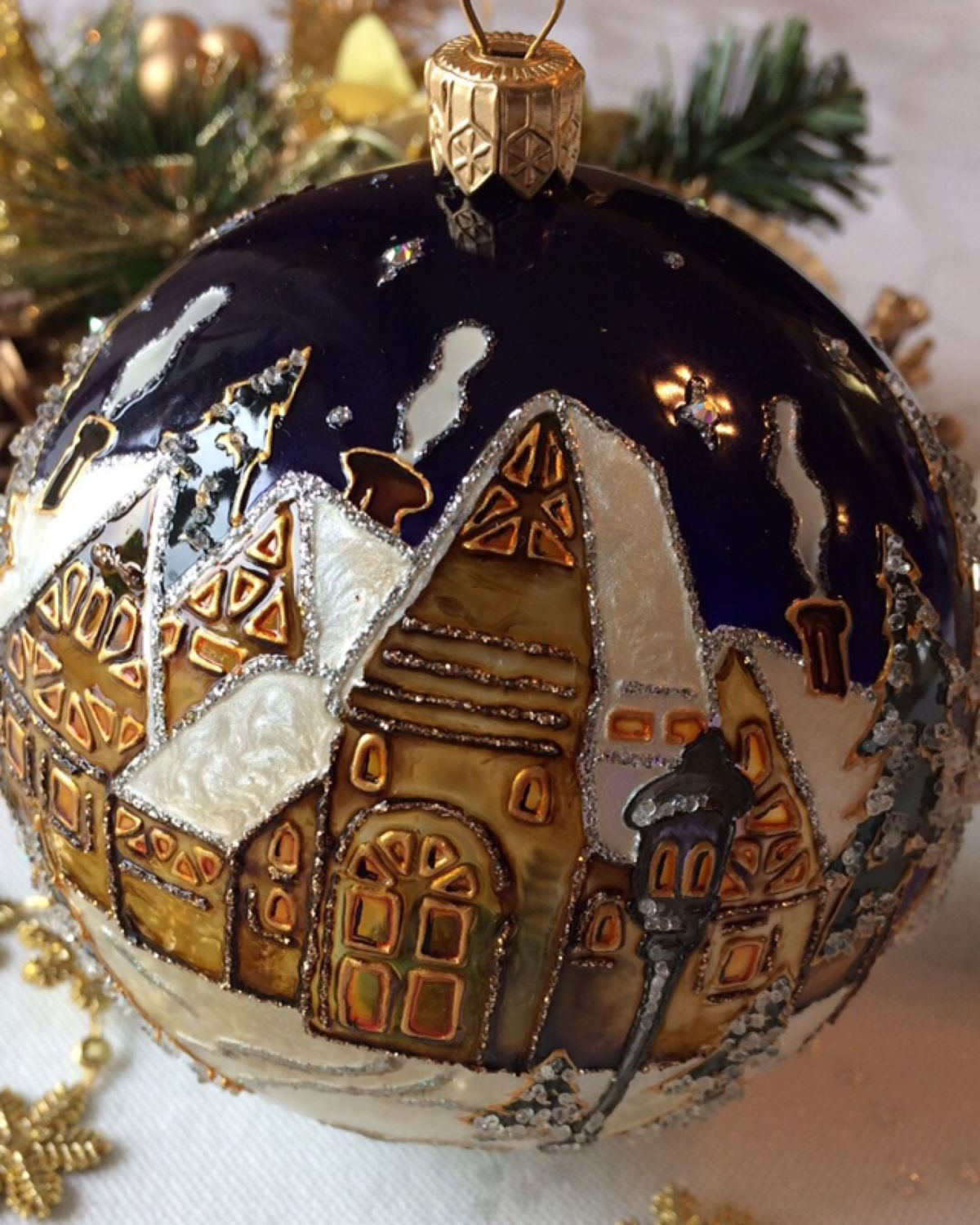 """Glass Christmas ball ' Winter fairy tale"""", Christmas decorations, Moscow,  Фото №1"""