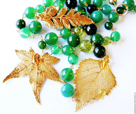 Колье, бусы ручной работы. Ярмарка Мастеров - ручная работа. Купить Колье с листьями Зеленый шум. Хризопраз, кварц, агат, хризолит.. Handmade.