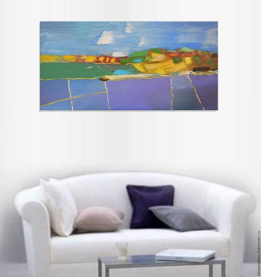 """Пейзаж ручной работы. Ярмарка Мастеров - ручная работа. Купить """"August fields"""" 120х60 см большая картина маслом мастихином пейзаж. Handmade."""