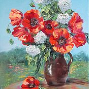 "Картины и панно handmade. Livemaster - original item Oil painting with poppies flowers 50/40 ""Poppies in the country"". Handmade."