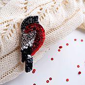 Украшения handmade. Livemaster - original item Red bullfinch brooch with beaded embroidery. Handmade.