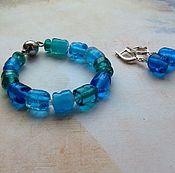 """Украшения ручной работы. Ярмарка Мастеров - ручная работа Комплект """"Deep blue sea"""", браслет лэмпворк. Handmade."""
