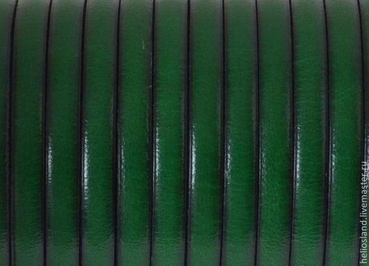 Для украшений ручной работы. Ярмарка Мастеров - ручная работа. Купить Кожаный шнур плоский 5 мм зеленый. Handmade.