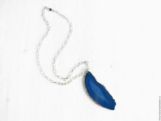 Ирина Моро. Irina Moro. Длинный синий, крупный кулон `Синее море`. Кулон из натурального камня на длинной серебряной цепочке. Стильный кулон.