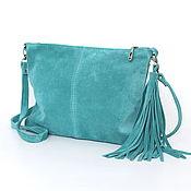 Сумки и аксессуары handmade. Livemaster - original item Turquoise Crossbody Bag Suede Clutch Crossbody Suede. Handmade.