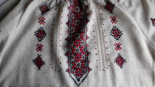 Одежда ручной работы. Ярмарка Мастеров - ручная работа. Купить Вышиванка женская 14. Handmade. Разноцветный, серый лен, орнамент