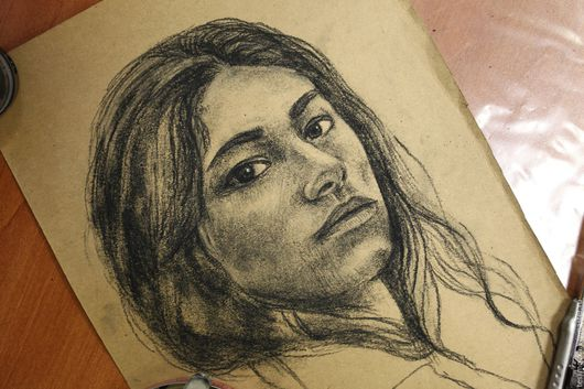 Люди, ручной работы. Ярмарка Мастеров - ручная работа. Купить Портрет на заказ. Handmade. Черный, портрет, уголь, пергамент