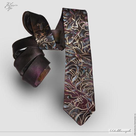 """Галстуки, бабочки ручной работы. Ярмарка Мастеров - ручная работа. Купить """"Кофе с коньяком"""" мужской шелковый галстук с авторской ручной росписью. Handmade."""
