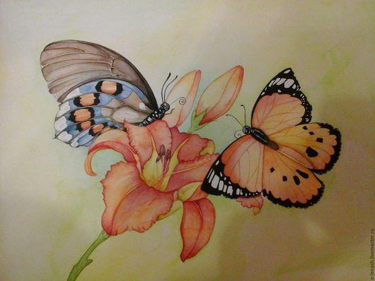 Картины цветов ручной работы. Ярмарка Мастеров - ручная работа. Купить Бабочки. Handmade. Оранжевый, подарок, бабочка