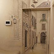 Дизайн и реклама ручной работы. Ярмарка Мастеров - ручная работа Декор двери  улочка 3d. Handmade.
