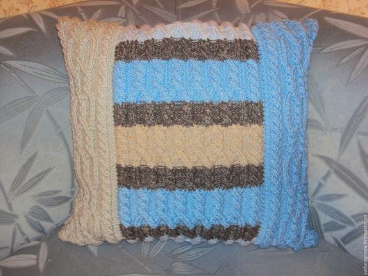 Текстиль, ковры ручной работы. Ярмарка Мастеров - ручная работа. Купить Подушка с вязанной наволочкой в полоску.. Handmade. Разноцветный