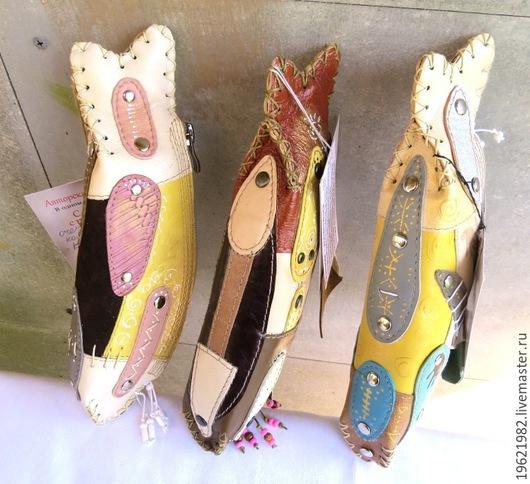 Футляры, очечники ручной работы. Ярмарка Мастеров - ручная работа. Купить Очечник - косметичка рыба (кожа). Handmade. Разноцветный