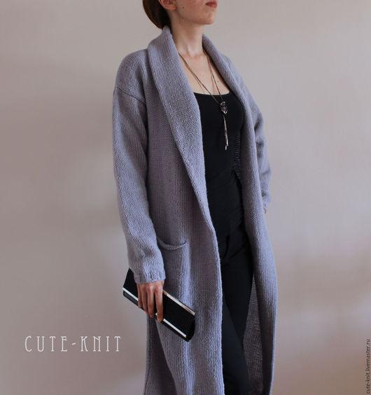 Чтобы лучше рассмотреть модель, нажмите на фото CUTE-KNIT Ната Онипченко Ярмарка мастеров  Купить серый длинный вязаный кардиган карманами