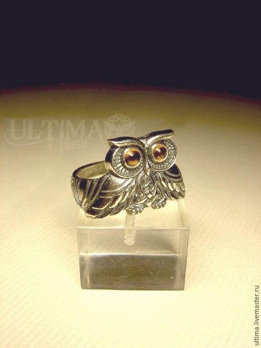 """Кольца ручной работы. Ярмарка Мастеров - ручная работа. Купить Кольцо """"Сова"""" с камнями. Handmade. Серебряный, совенок, кольцо"""