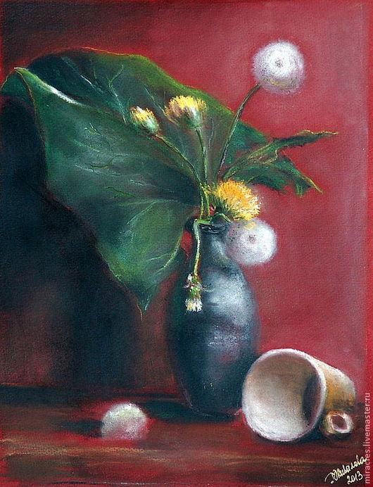 """Картины цветов ручной работы. Ярмарка Мастеров - ручная работа. Купить Картина пастелью """"Солнечный цветок"""". Handmade. Одуванчик"""