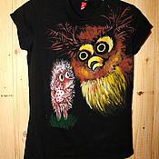 """Одежда ручной работы. Ярмарка Мастеров - ручная работа Черная футболка """"Ежик в тумане"""". Handmade."""