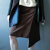 Одежда ручной работы. Ярмарка Мастеров - ручная работа Асимметричная юбка из льняного денима и шотландки. Handmade.