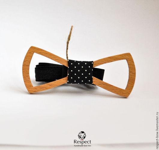Галстуки, бабочки ручной работы. Ярмарка Мастеров - ручная работа. Купить Деревянная бабочка галстук Одри Эйр бук / галстук бабочка черная горох. Handmade.