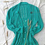 Одежда ручной работы. Ярмарка Мастеров - ручная работа Кардиган на пуговицах ажурной вязки. Handmade.