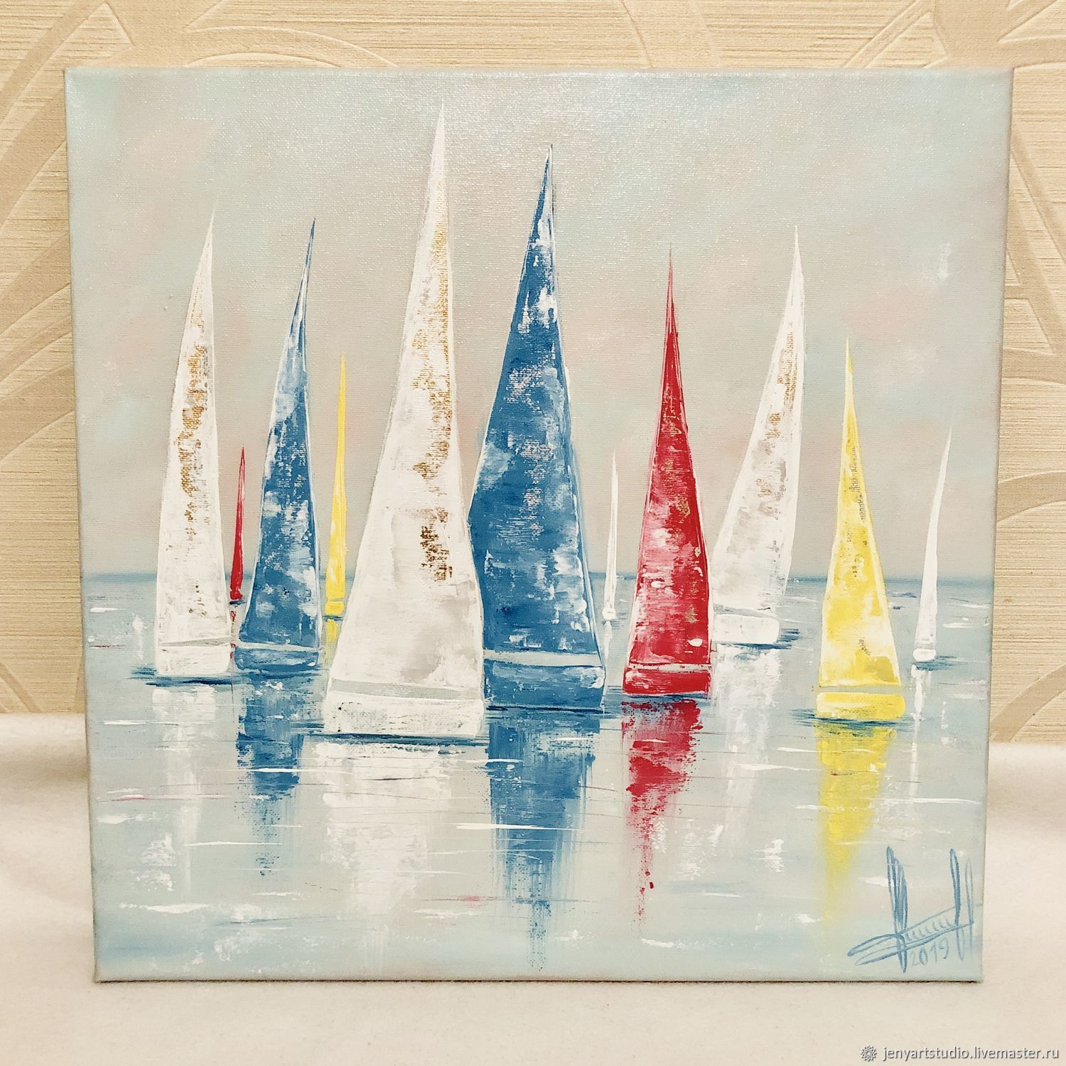 Oil painting 'Yachts' abstraction with gold 40h40 cm, Pictures, Kolomna,  Фото №1