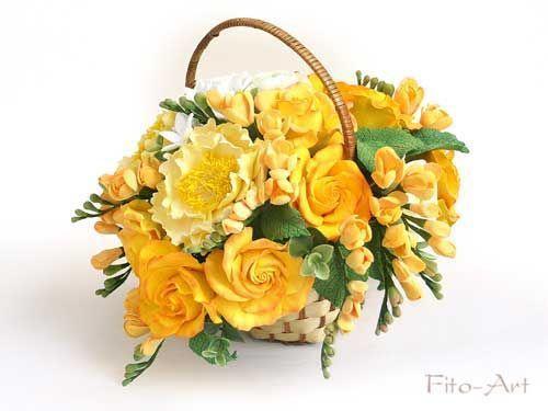 Интерьерные композиции ручной работы. Ярмарка Мастеров - ручная работа. Купить Букет желто-оранжевых цветов в корзинке. Handmade. Желтый