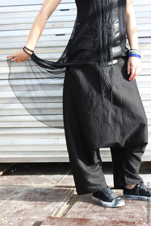 Брюки, шорты ручной работы. Ярмарка Мастеров - ручная работа. Купить Льняные брюки - черные / P0005. Handmade. Черный