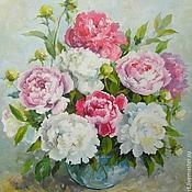 Картины и панно handmade. Livemaster - original item Peonies pink and white Picture canvas oil 45х50 cm. Handmade.