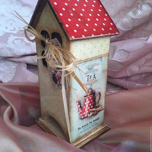 Кухня ручной работы. Ярмарка Мастеров - ручная работа. Купить Уютный домик для чайных пакетов. Handmade. Чайный домик декупаж